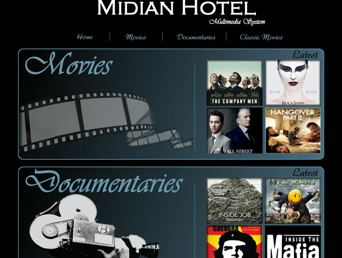 Midian Hotel - Multimedia Streaming Local Intranet Web site
